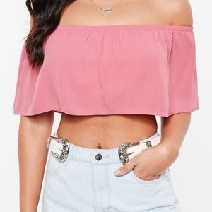 Missguided Frill Bardot Crop Top Rose Size 6